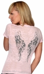 Angel Wings Burnout Scoop Neck Tee