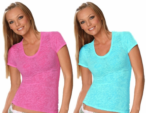 Pink, Turquoise & Black Burnout V-Neck Tee SALE