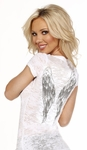Rhinestone  Wings Burn Out Tee