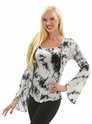 Tie Dye Splash Flared Sleeve Tunic Top
