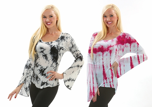 Tie Dye Splash Flared Sleeve Top