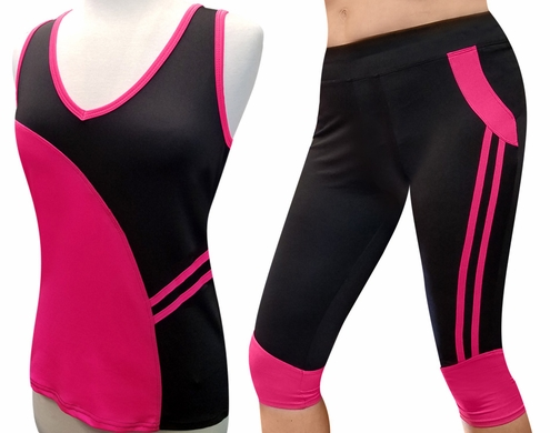Black & Hot Pink Lycra Lady's Cami & Capri Set
