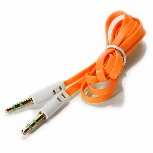 3 Foot Orange Flat 3 5mm Auxiliary Audio Connector Cable