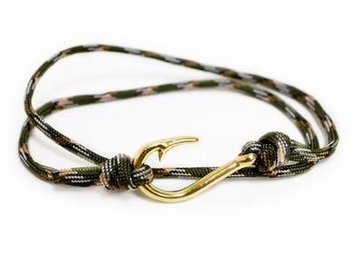Green Braided Cord Bracelet with Gold & Silver Pattern