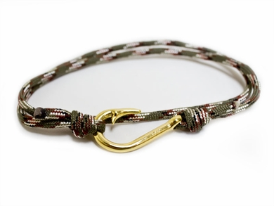 Green, Brown, and Silver Braided Hook Bracelet