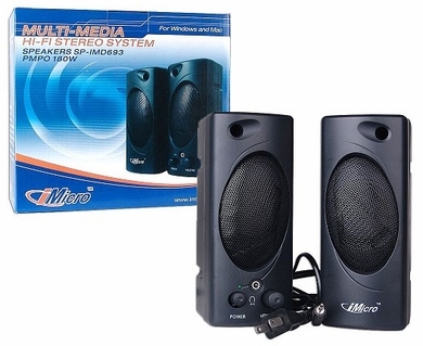 iMicro SP-IMD693 2-piece 3.5mm Computer Speakers with Headphone Jack