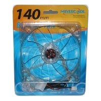 Masscool BLD-14025S1L 140mm 57CFM Blue LED Case Fan with 3+4pin Plugs