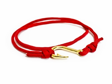 Red Nautical Braided Cord & Hook Bracelet