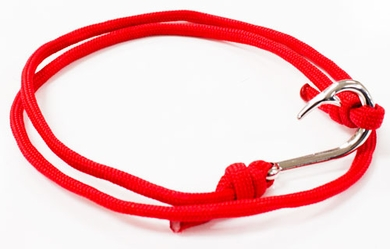 Red Paracord Braided Fish Hook Bracelet Silver Hook