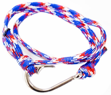 Red, White, Blue Braided Fish Hook Bracelet Silver Hook