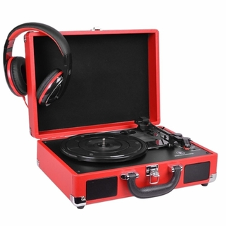 Refurbished Innovative Technology ITVS-550BBT-RD 3-Speed Vintage Bluetooth Suitcase Turntable Red
