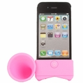 Silicone Acoustic Amplifier Stand for iPhone 4 (Pink)
