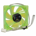 UV Reactive Green 80mm Sleeve Bearing Blue LED 3-pin Case Fan