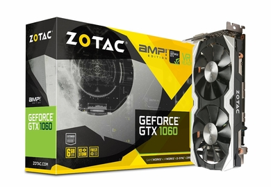 Zotac GeForce GTX 1060 AMP!, ZT-P10600B-10M, 6GB GDDR5 Super Compact Dual-Fan IceStorm Cooling FREEZ