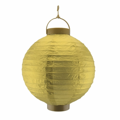 10 Inch Gold 16 Led Round Battery Operated Paper Lantern W