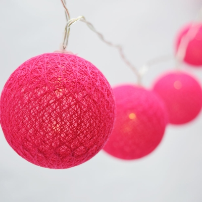 10 Led Fuchsia Hot Pink Round Texture Cotton Ball Spun