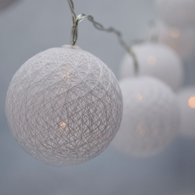 10 LED White Round Texture Cotton Ball Spun String Light