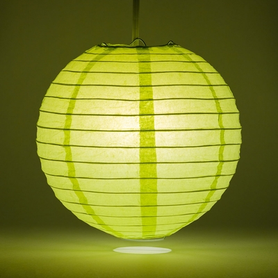 20 Inch Light Lime Green Round Paper Lantern Even Ribbing