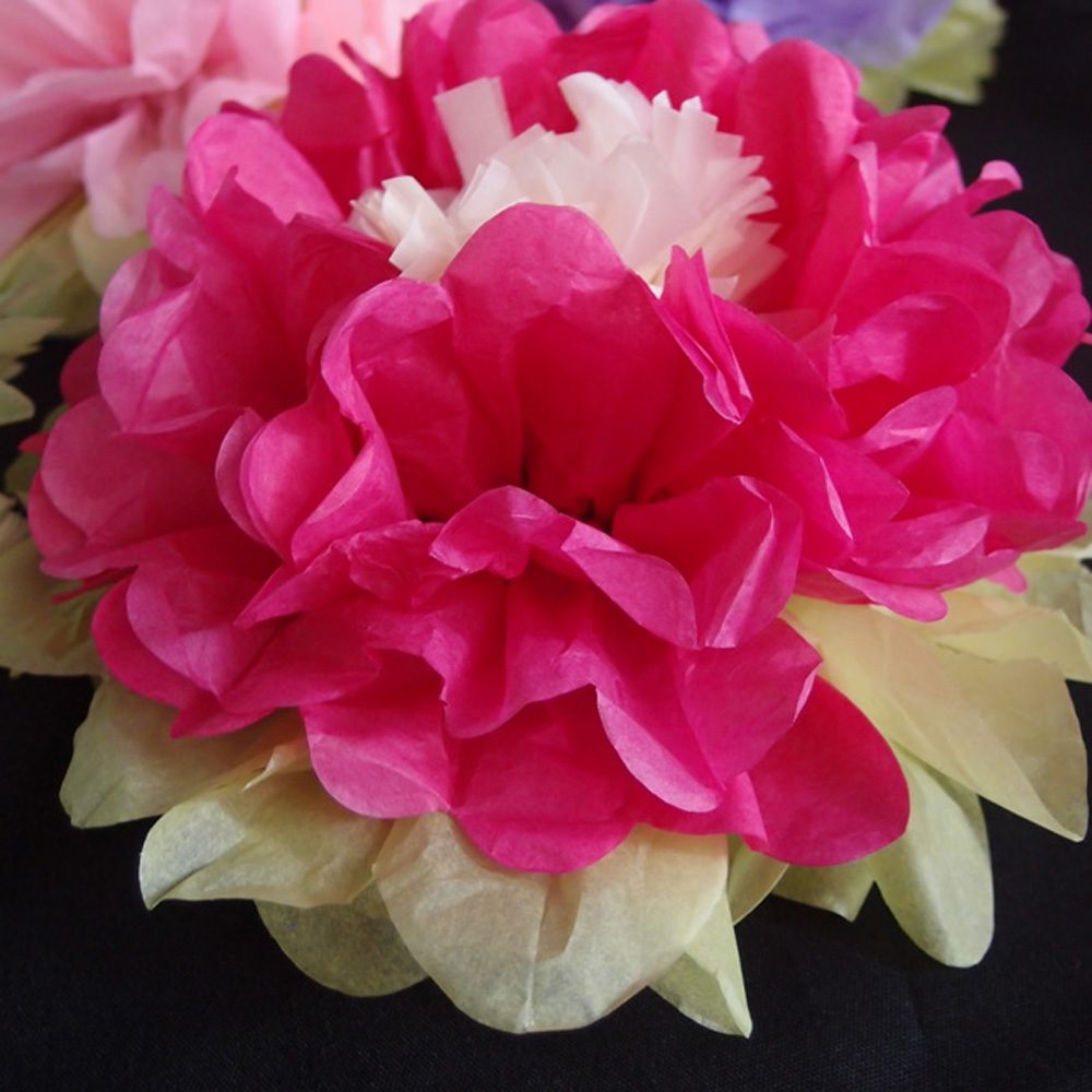 10 Multi Color Tissue Paper Flower Decorations Fuchsia Hot Pink