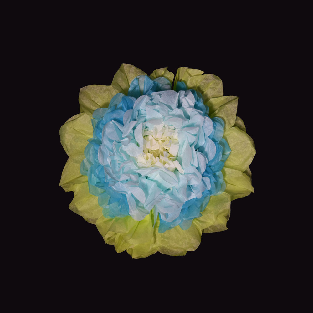 10 Multi Color Tissue Paper Flower Decorations Turquoise Combo 3