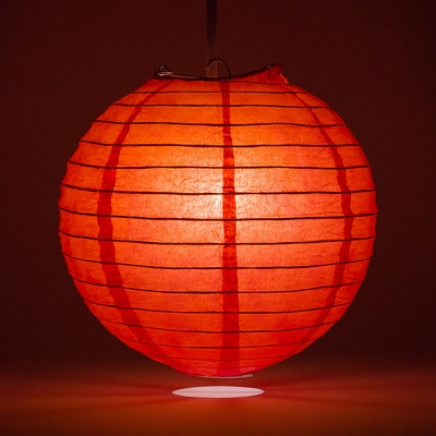 20 Quot Red Round Paper Lantern Even Ribbing Hanging Light