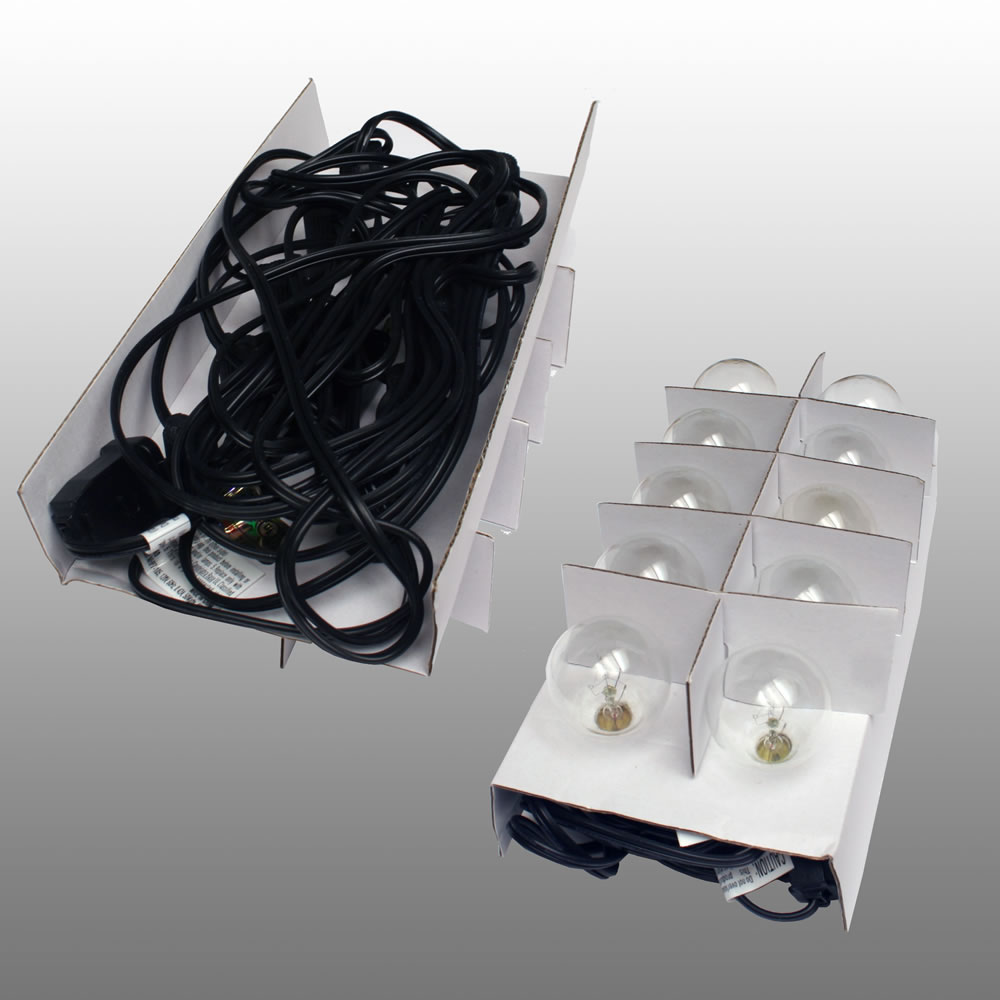 Globe String Lights Kit : 10 Socket Outdoor String Light Kit w/ G40 Globe Clear Bulbs (13.5FT, Expandable, Black) on Sale ...