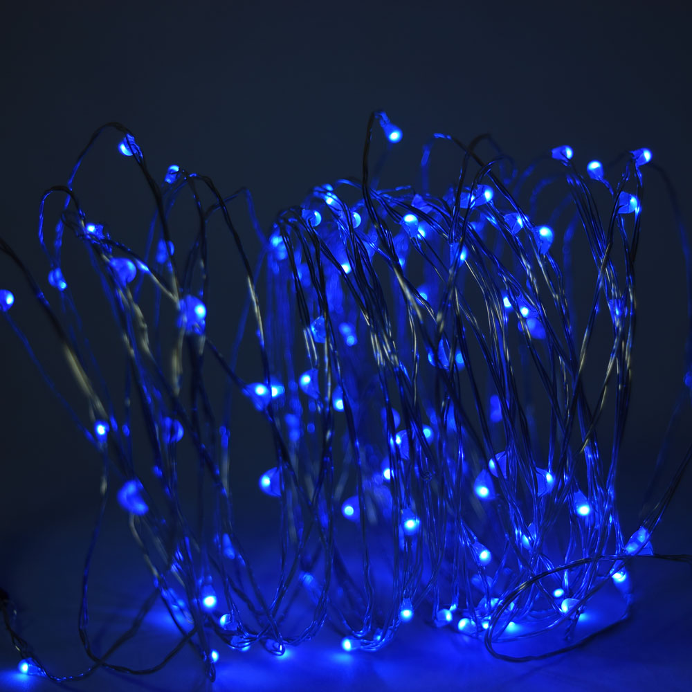 Blue Lantern String Lights : 100 Blue LED Fairy Wire Waterproof String Lights (33ft, AC Plug-In)