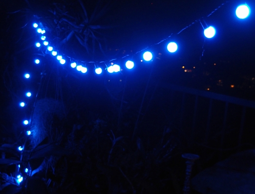 100 Blue Led Large Ball String Lights 17ft Black Cord