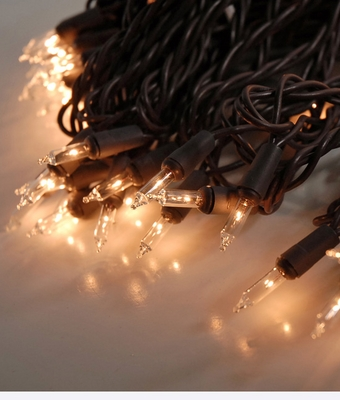 Mini Patio String Lights : 100 Outdoor Warm White Mini String Lights, 42 FT Brown Cord, Weatherproof, Expandable on Sale ...