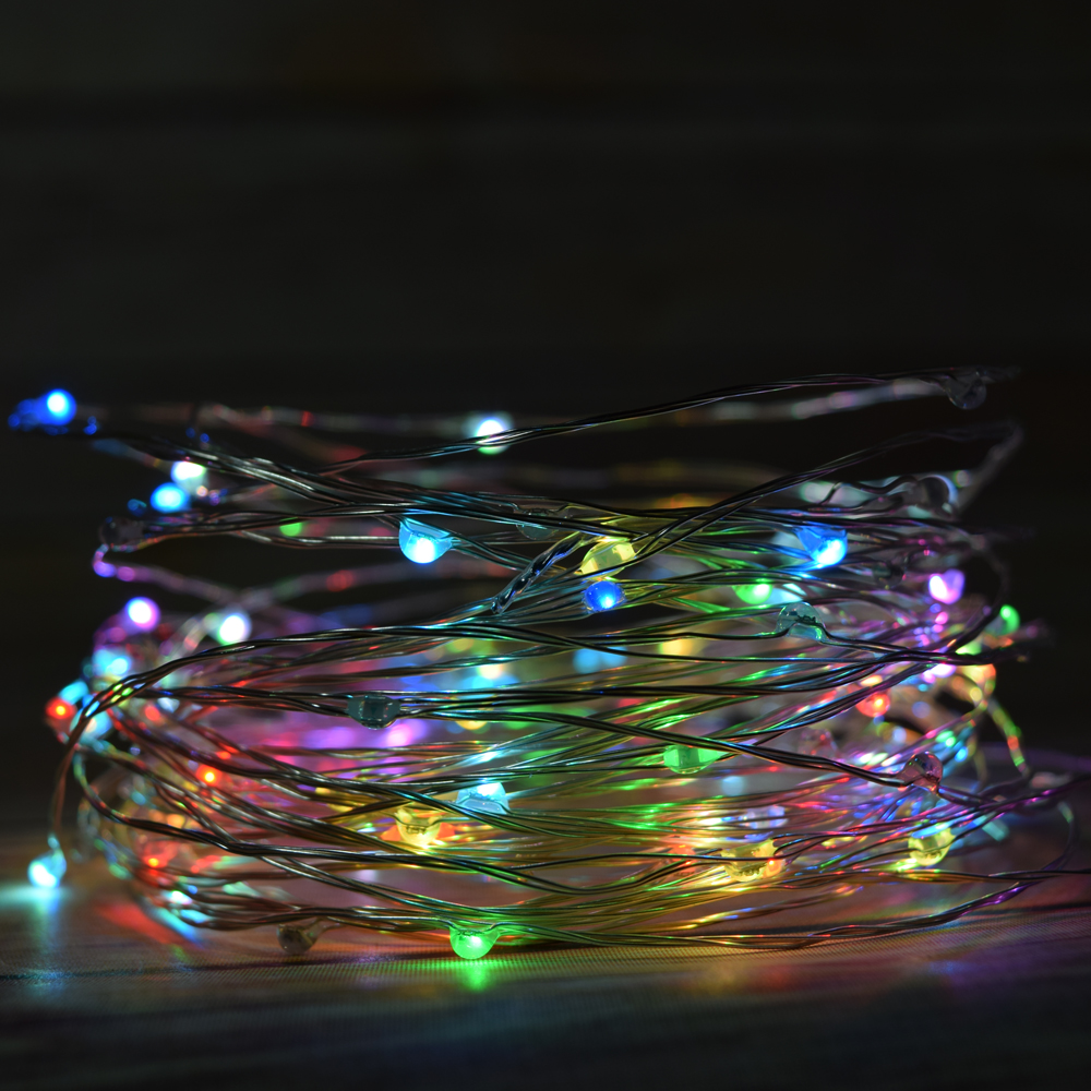 100 rgb multi color led micro fairy string light waterproof wire 33ft ac plug in ebay. Black Bedroom Furniture Sets. Home Design Ideas
