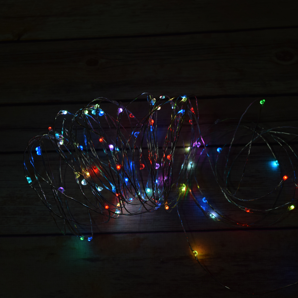 Fairy String Lights Plug In : 100 RGB Multi-Color Changing LED Fairy Wire Waterproof String Lights (33ft, AC Plug-In)