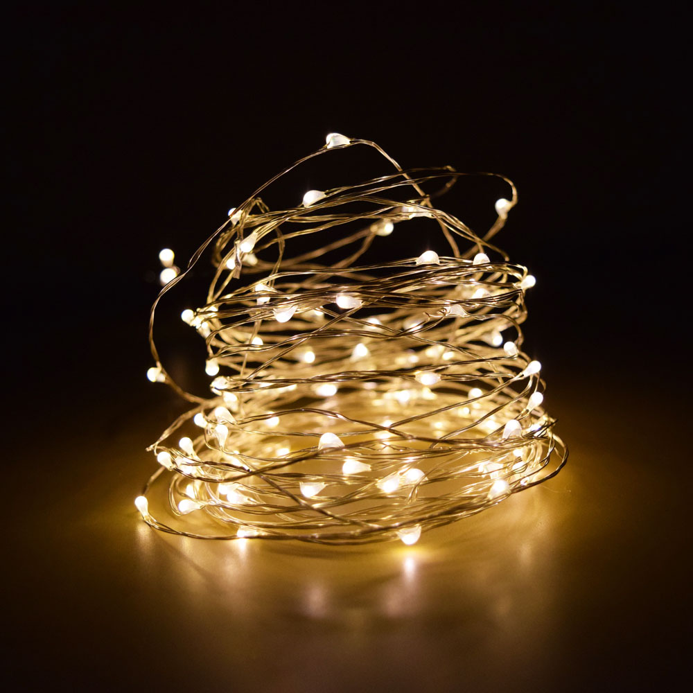 100 Warm White LED Micro Fairy String Light, Waterproof Wire (33ft, AC Plug-In) eBay