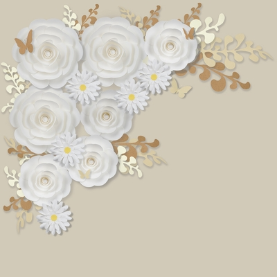 12 Pc Combo White Ranunculus Paper Flower Backdrop Wall Decor Set 3d Premade