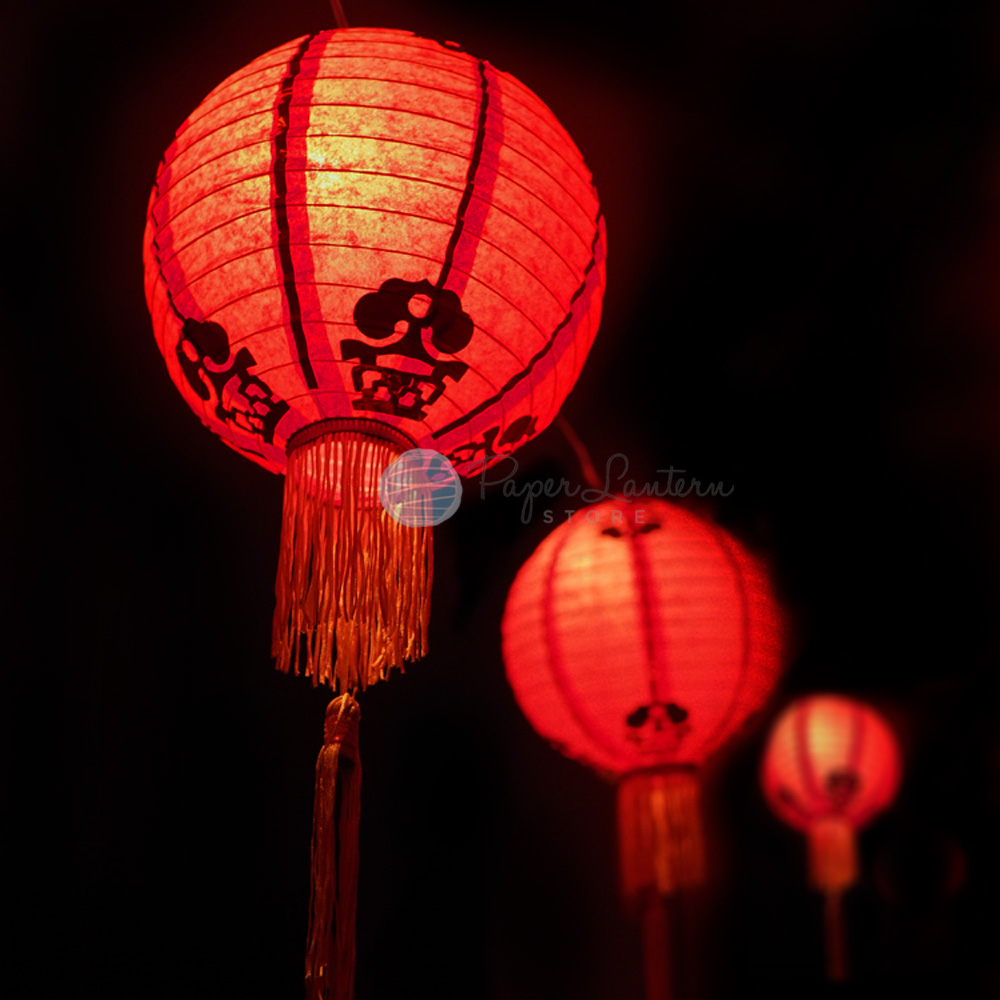 12 Traditional Chinese New Year Paper Lantern String Light Combo Kit 21 Ft Expandable Black Cord