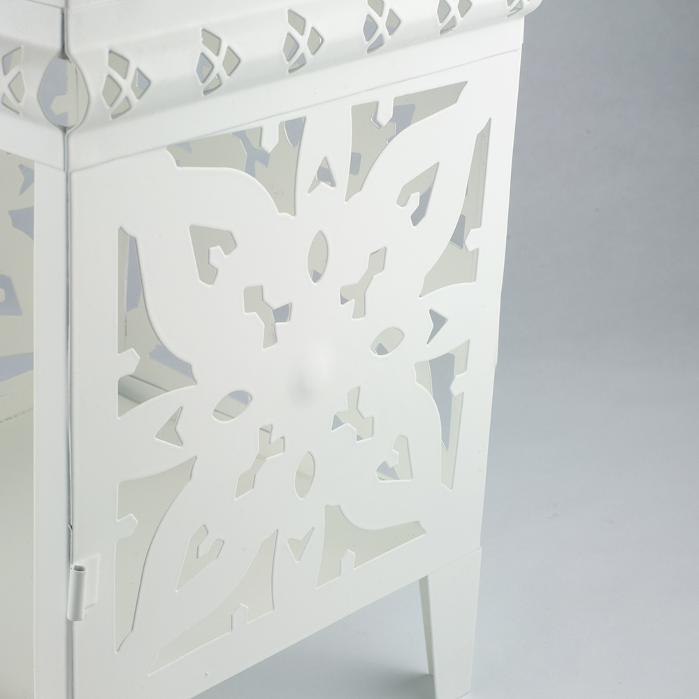 12 Inch White Moroccan Candle Lantern Tea Light Holder