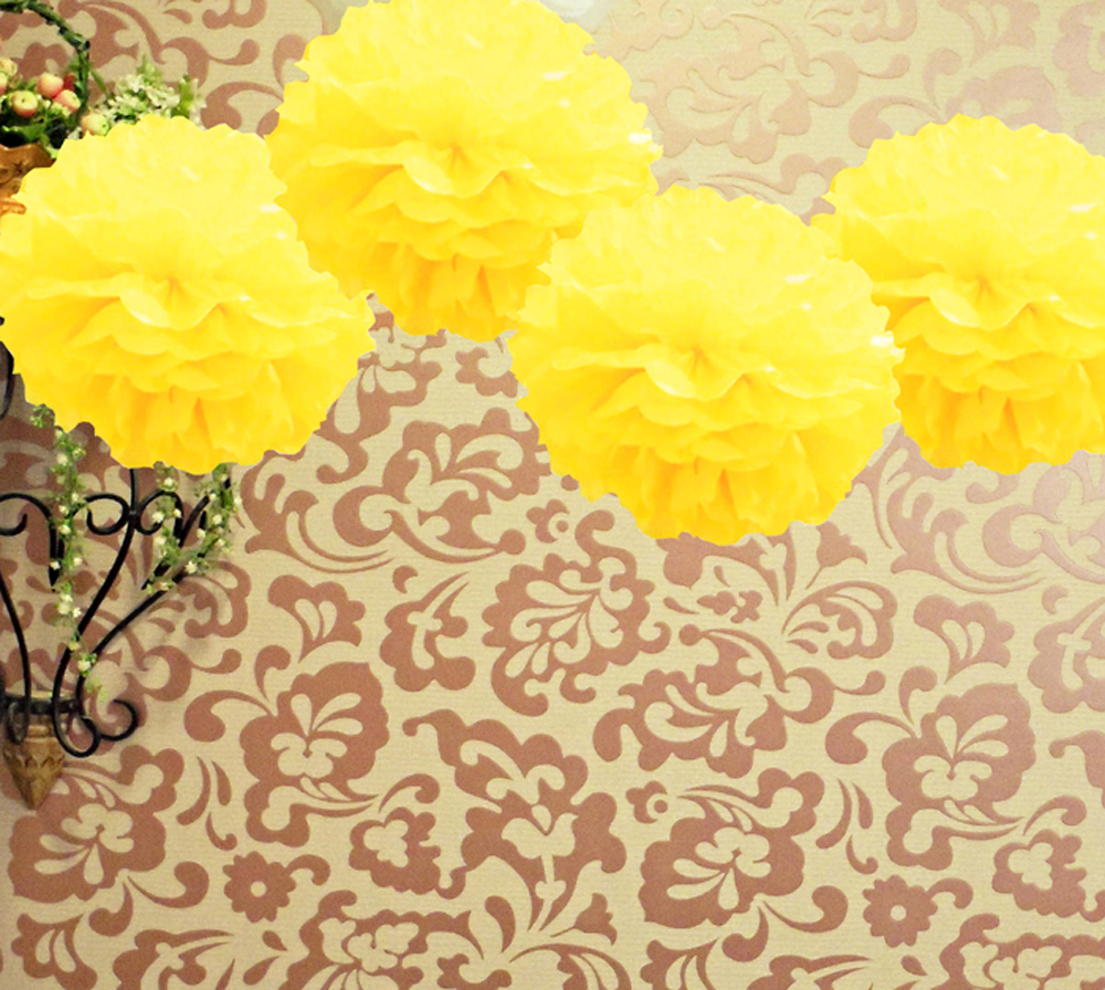 8 yellow tissue paper pom pom flowers hanging decorations 4pk ez fluff 8 yellow tissue paper pom pom flowers hanging decorations 4 pack mightylinksfo