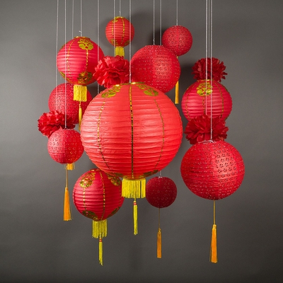 13-pc Chinese New Year Hanging Decoration Paper Lantern ...