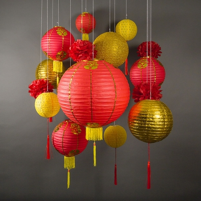 13 pc golden chinese new year paper lantern party pack combo set - Chinese New Year Lanterns