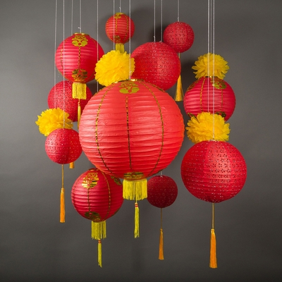 13 pc red chinese new year celebration party pack paper lantern combo set - Chinese New Year Lanterns