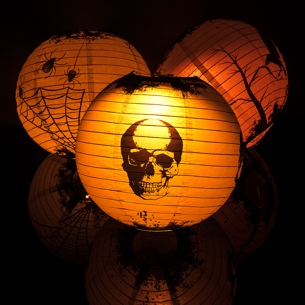 paper lanterns with lights 14 quot scary story color changing paper lanterns 30451