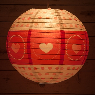 14 Quot Red White Valentine S Day Heart Paper Lantern Even