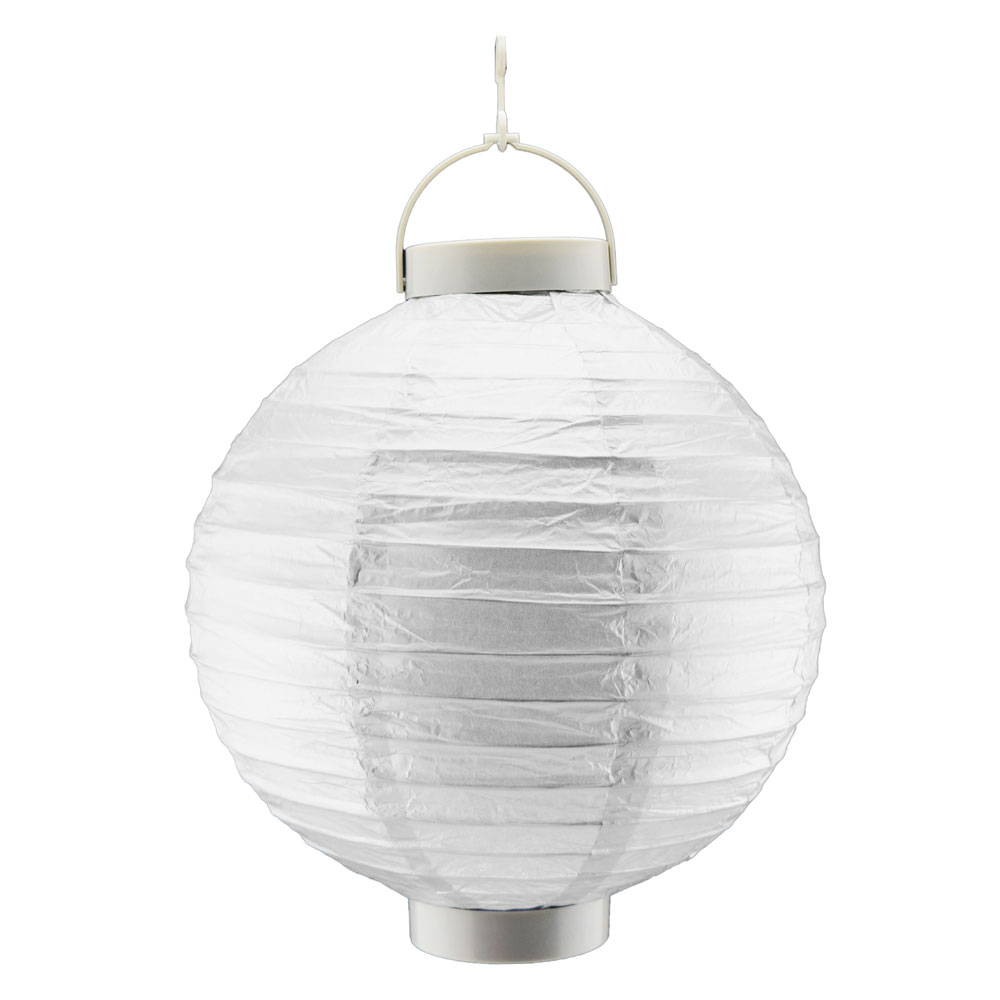 Details About 14 Silver 16 Led Battery Operated Paper Lantern Built In Light Up Switch
