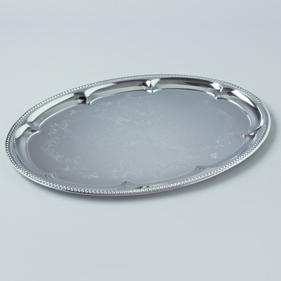 16  Chrome Silver Decorative Oval Metal Serving Tray Heavy Duty & Charger Plates - Wholesale - Paper Lantern Store