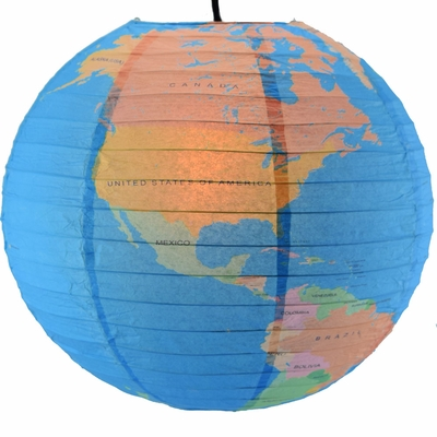 14 Inch Geographical World Map Earth Globe Paper Lantern