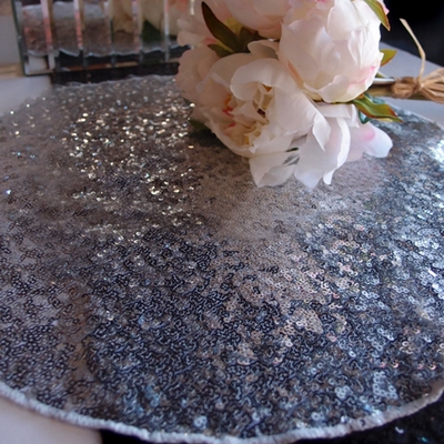16 Inch Silver Sequin Round Table Placemat On Sale Now