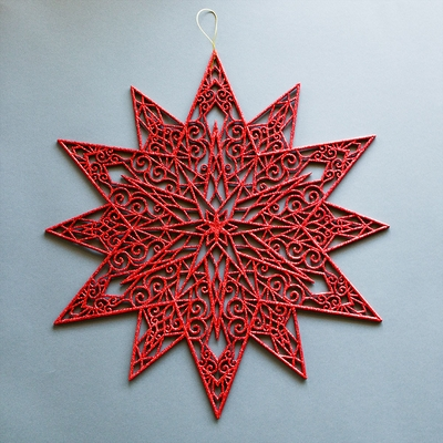 19 red glitter star snowflake hanging christmas holiday decoration - Hanging Christmas Decorations