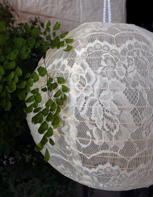 20 Inch Beige Ivory Round Lace Fabric Lantern Even