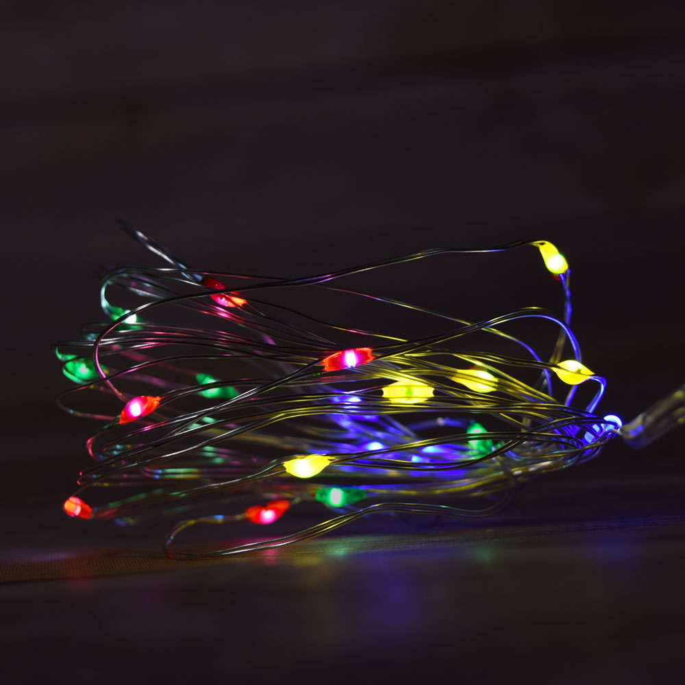 Battery Operated String Lights Brown Wire : 20 RGB Multi-Color Changing LED Fairy Wire Waterproof String Lights w/ Timer (6ft, Battery ...