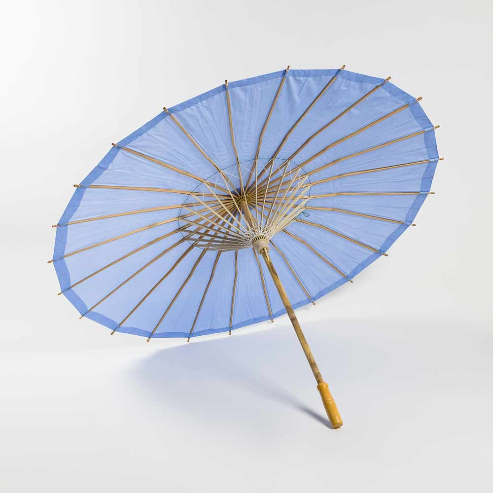 "20/"" Serenity Blue Paper Parasol Umbrella for Weddings and Parties"