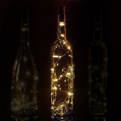 20 Warm White Led Cork Wine Bottle Lamp Fairy String Light